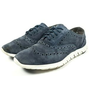 Cole Haan Zerogrand Blue Suede Wingtip Oxford Shoe